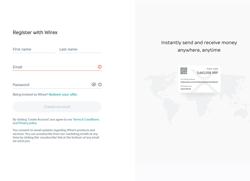 wirex account signup